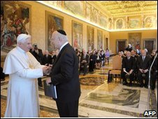 Pope Benedict greets Rabbi Marc Schneier at the Vatican, 12 February