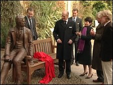 The unveiling of the statue at Christ's College, Cambridge