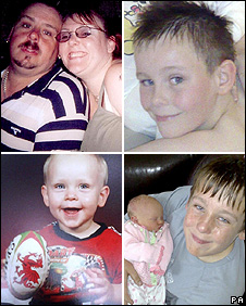 Clockwise from top left: David and Michelle Statham; Jay; Reece holding Ellouise; Mason