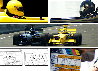 A collage of images from the making of the BBC's F1 trail