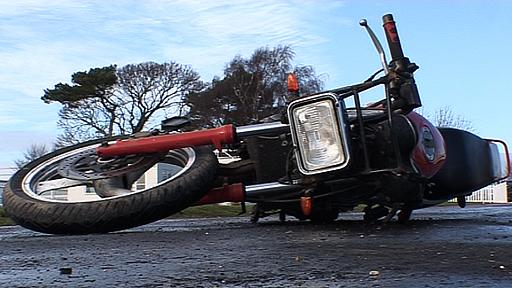 Crashed motorbike