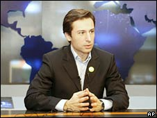 A Georgian presenter in Imedi's newsroom. File photo