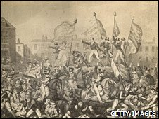 Artist's impression of the Peterloo massacre