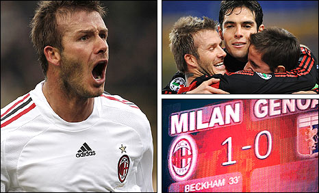David Beckham; celebrating with his team-mates (top right); seeing his name up in lights once more (bottom right)