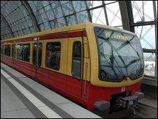 Local S-Bahn train carriage at Berlin railway station