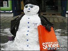 A snowman in Brighton, 02.02.2009