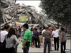 Rubble of Juyuan Middle School in Dujiangyan city