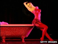 Burlesque artist Dita Von Teese performs as a guest at the MGM Grand's Crazy Horse Paris
