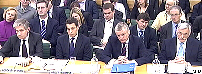 Former HBOS Chairman Lord Stevenson of Coddenham, former HBOS Chief Executive Andy Hornby, former RBS Chief Executive Sir Fred Goodwin and former RBS Chairman Sir Tom McKillop