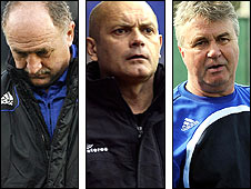 (Left to right) Luiz Felipe Scolari, Ray Wilkins and Guus Hiddink