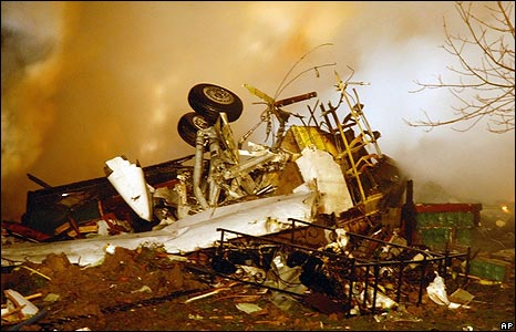 Plane wreckage in Clarence Center, New York state