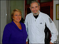 Michelle Bachelet y Fidel Castro.