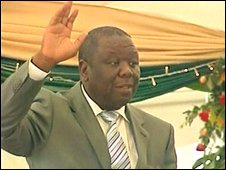 Morgan Tsvangirai is sworn in as PM