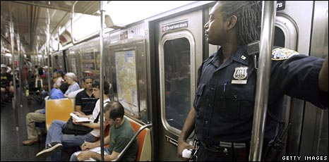 Cop on the New York subway