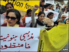 Pakistani women activists in Lahore protest over girls' school closures in Swat