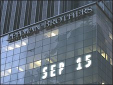 Lehman Brothers world headquarters is shown in New York