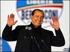 Silvio Berlusconi in the election run-up in 2008