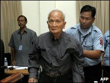 Former Khmer Rouge leader Nuon Chea at the tribunal, Feb 2008