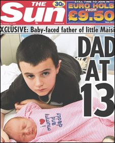 Alfie Patten and daughter Maisie on front page of the Sun