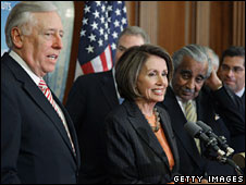 Steny Hoyer (l), Nancy Pelosi (c) and Charles Rangel (r) after the House voted to approve the bill, 13 Feb