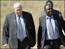 Image from April 2008 showing Roy Bennett with MDC leader Morgan Tsvangirai in South Africa