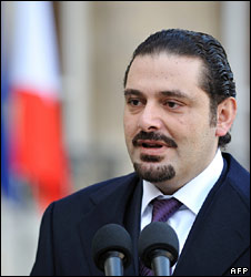 Saad Hariri, pictured in France on 2 January 2009