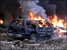 The aftermath of the car bombing that killed Rafik Hariri on 14 February 2005