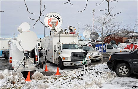 Media trucks in Clarence Center, New York, on 13/2/09