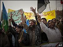 Manifestación contra los ataques de EE.UU. en Islamabad, 23 de enero 2009