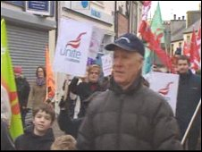 Workers marched through Holyhead to try to keep jobs there