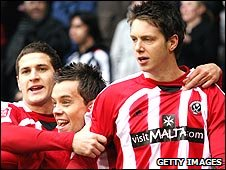 Greg Halford (right) scored Sheffield United's goal