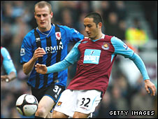 David Wheater of Middlesbrough and David di Michele of West Ham