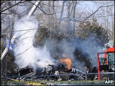 The crash scene at Clarence Center, New York, on Friday morning