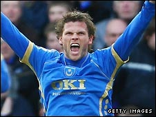 Hermann Hreidarsson celebrates scoring for Portsmouth