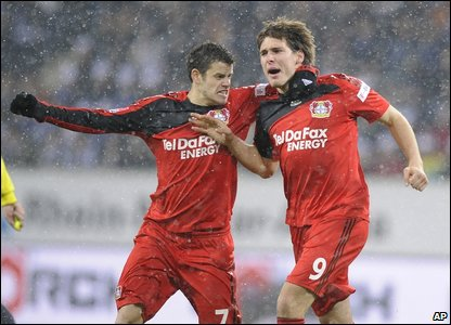 Patrick Helmes and Tranquillo Barnetta of Bayer Leverkusen