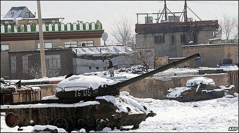 Soviet tank ruins in Kabul
