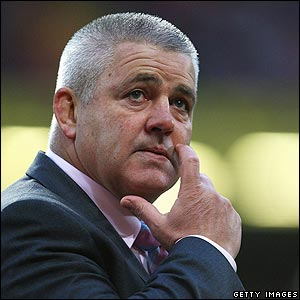 Wales coach Warren Gatland looks on
