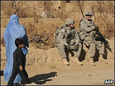 US soldiers and local people in Afghanistan