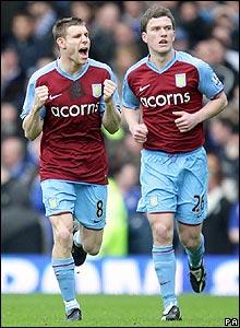 James Milner celebrates scoring for Villa