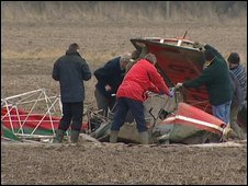 The wreckage of the microlight on Sunday