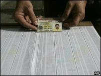 Lista de registrados para votar.