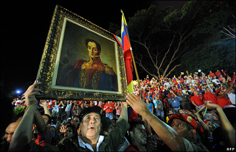 Supporters of Hugo Chavez outside the presidential palace in Caracas, Venezuela, 15 February 2009