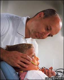 Child being examined by dentist
