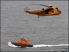 Rescue helicopter and Thurso lifeboat
