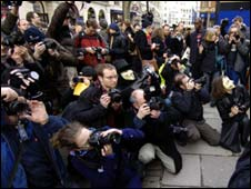 Photographers protesting outside Scotland Yard