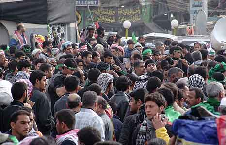 Crowds in Karbala, Iraq