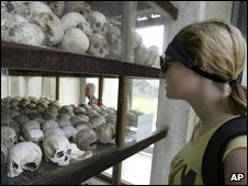 Tourist at Choeung Ek, one of the Khmer Rouge-era killing fields, now a memorial site