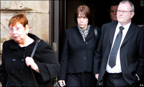 Angela Statham (left) with Carole and Peter Hagans leave Chester Crown Court
