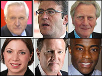David Dimbleby, Tony McNulty, Michael Heseltine, Sarah Teather, Piers Morgan and Tim Campbell