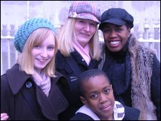 Charlotte and Mandie Luxford with Kai and Ayo Oyelami (l-r)
